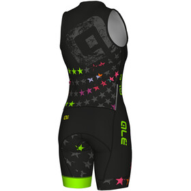 Alé Cycling Long Triathlon Stelle Traje Triatlón Manga Corta Mujer, black-fluo green